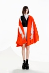 look7 : long-sleeved silk top with vest layer, white-grey gradient felted slit skirt & vermillion cape coat